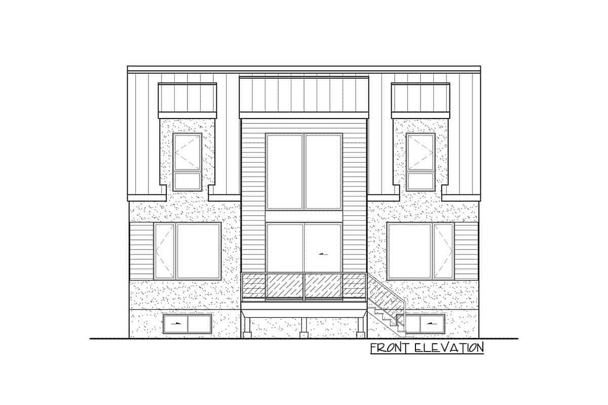 Front elevation sketch of the two-story 3-bedroom New American contemporary home.