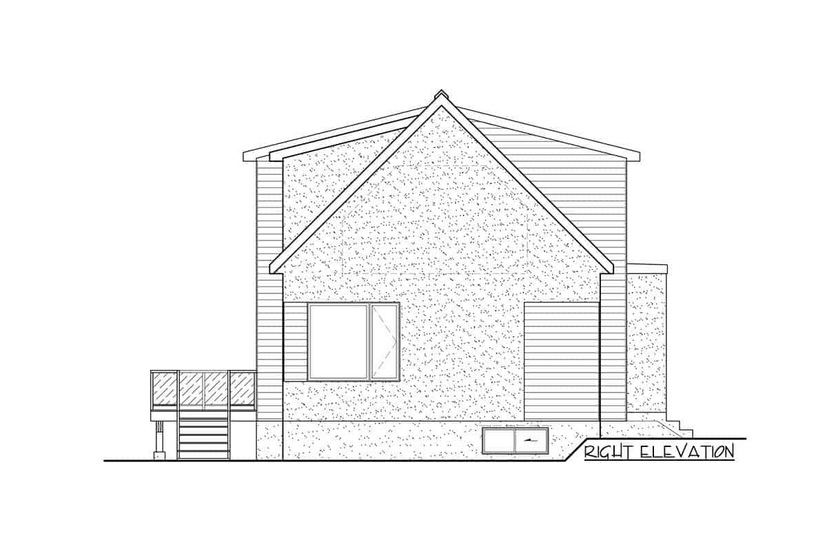 Right elevation sketch of the two-story 3-bedroom New American contemporary home.