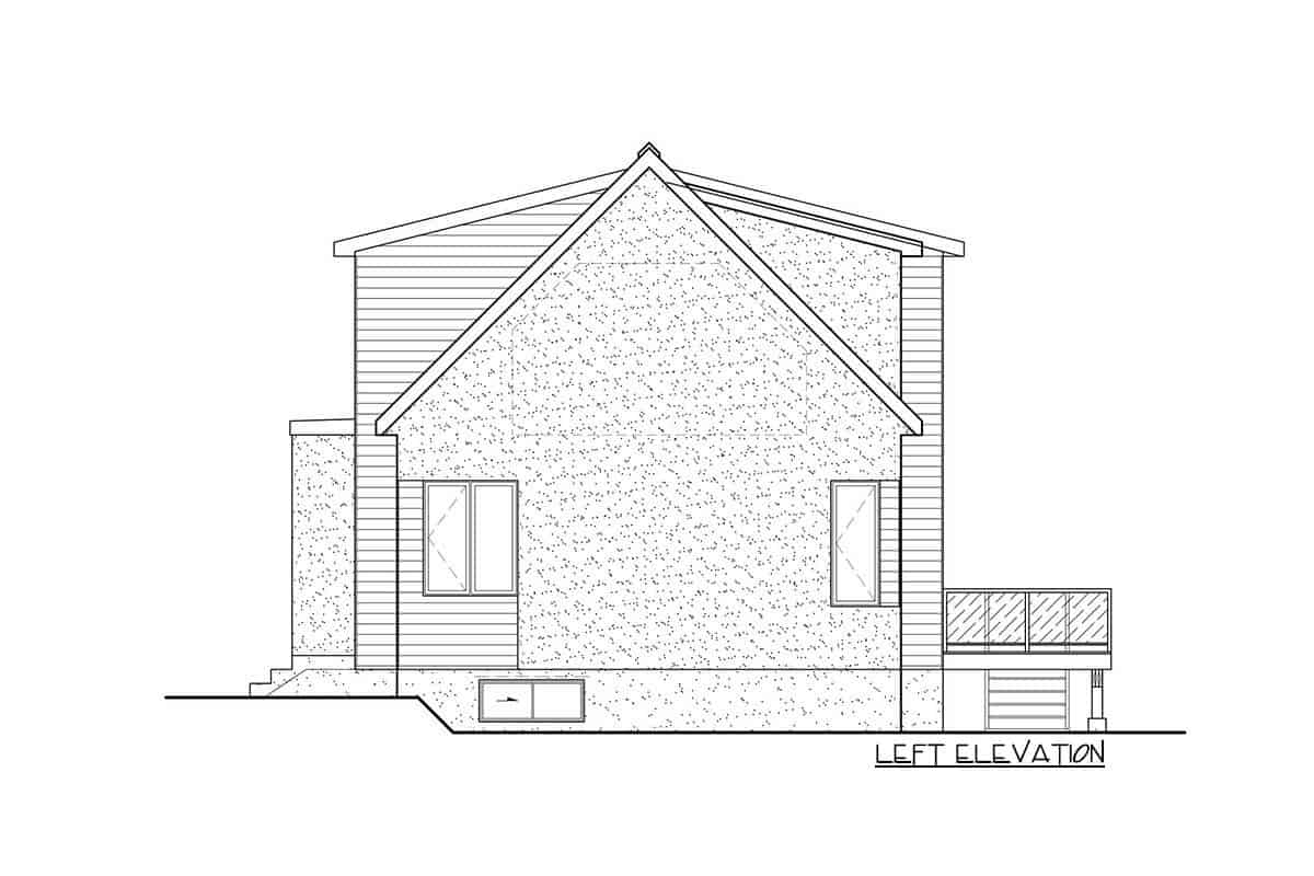 Left elevation sketch of the two-story 3-bedroom New American contemporary home.