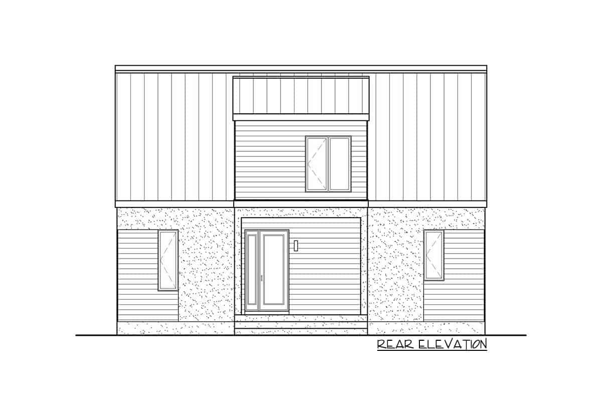 Rear elevation sketch of the two-story 3-bedroom New American contemporary home.