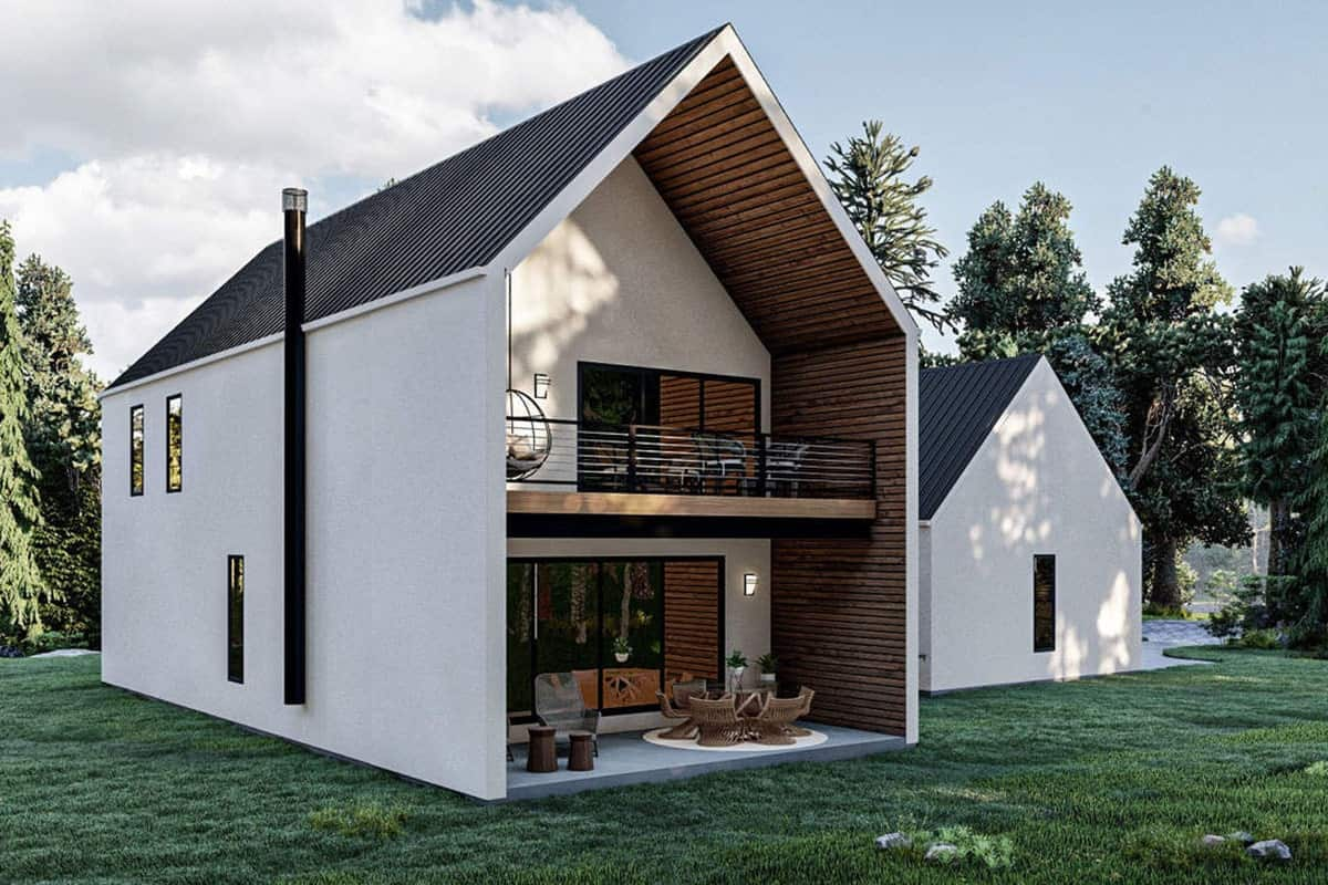 Right rendering of the two-story 3-bedroom ultra-modern farmhouse.