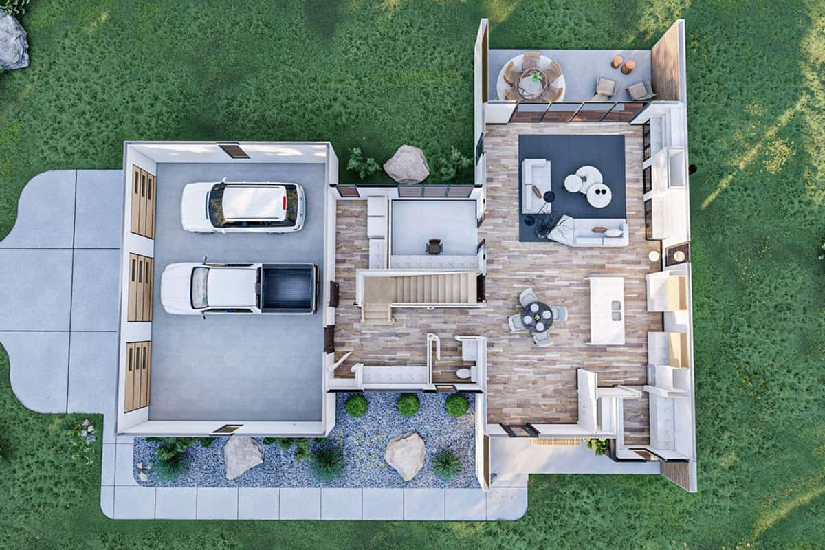 Main level 3D floor plan of the two-story 3-bedroom ultra-modern farmhouse.