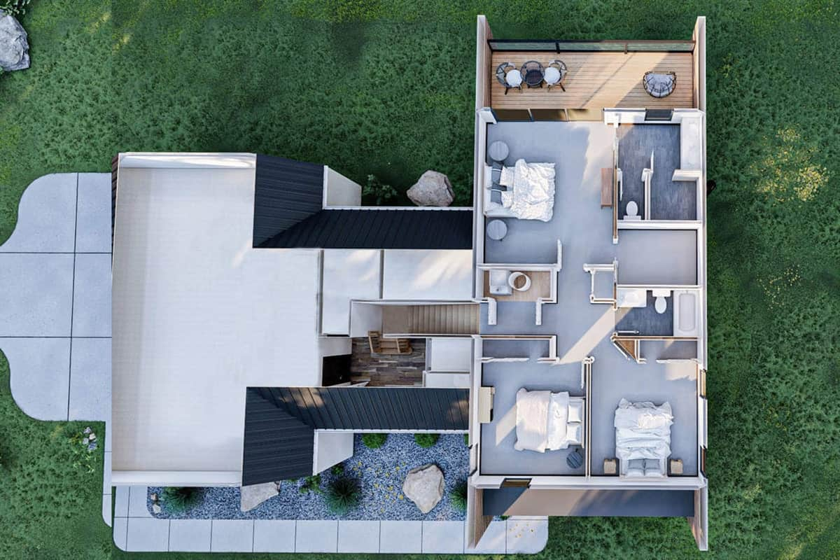 Second level 3D floor plan of the two-story 3-bedroom ultra-modern farmhouse.