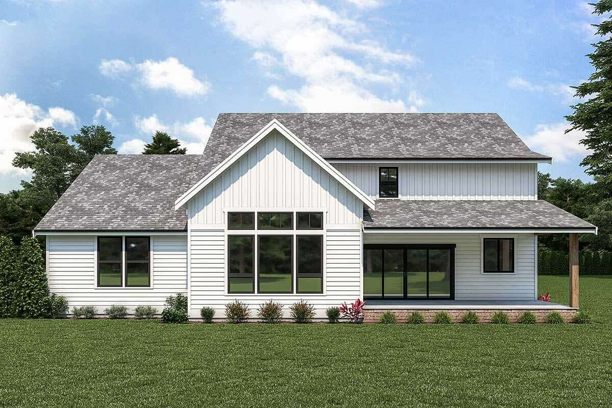 Rear rendering of the two-story 4-bedroom country craftsman.