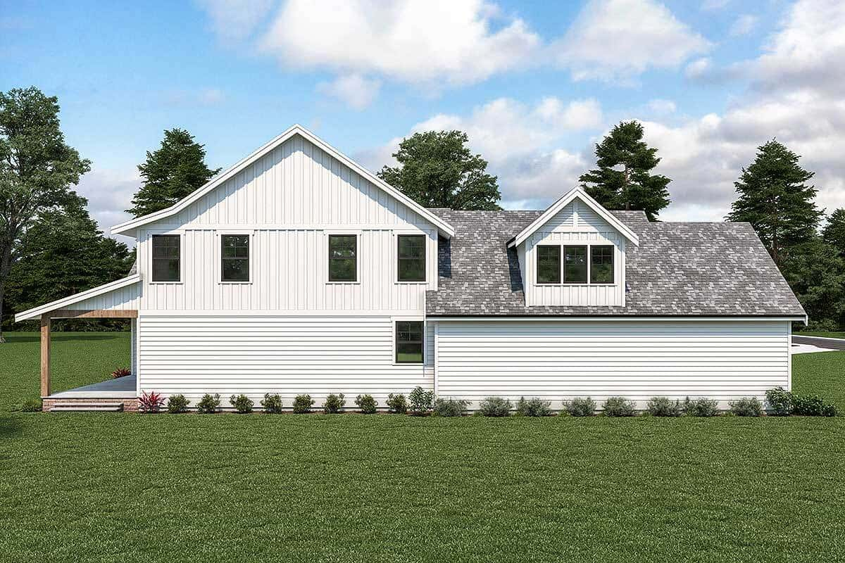 Left rendering of the two-story 4-bedroom country craftsman.