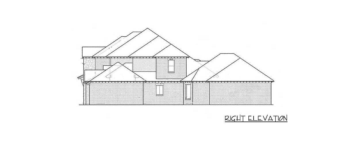 Right elevation sketch of the two-story 4-bedroom exclusive hill country home.