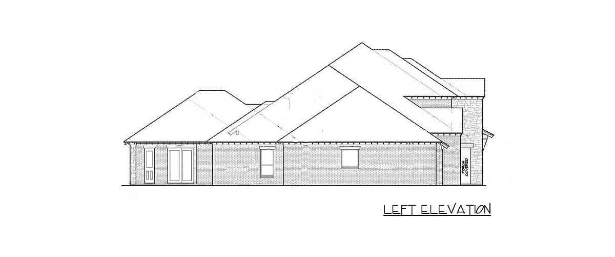 Left elevation sketch of the two-story 4-bedroom exclusive hill country home.