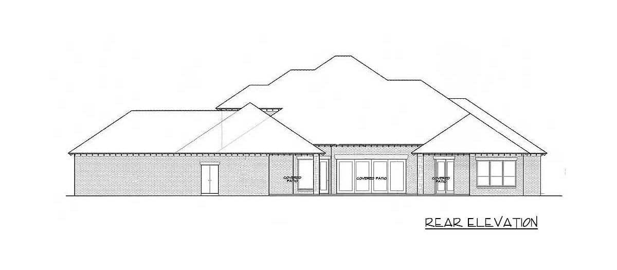 Rear elevation sketch of the two-story 4-bedroom exclusive hill country home.