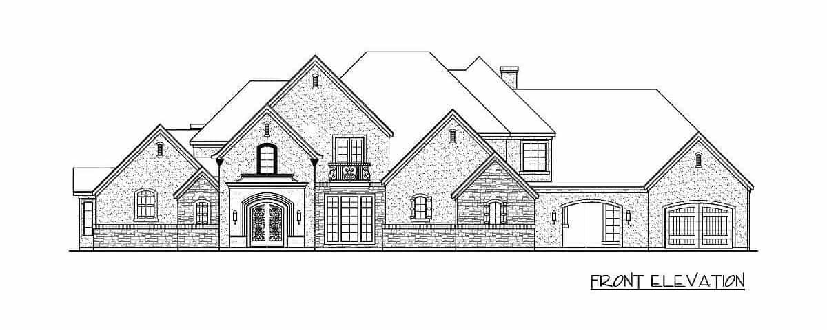 Front elevation sketch of the two-story 4-bedroom traditional home.