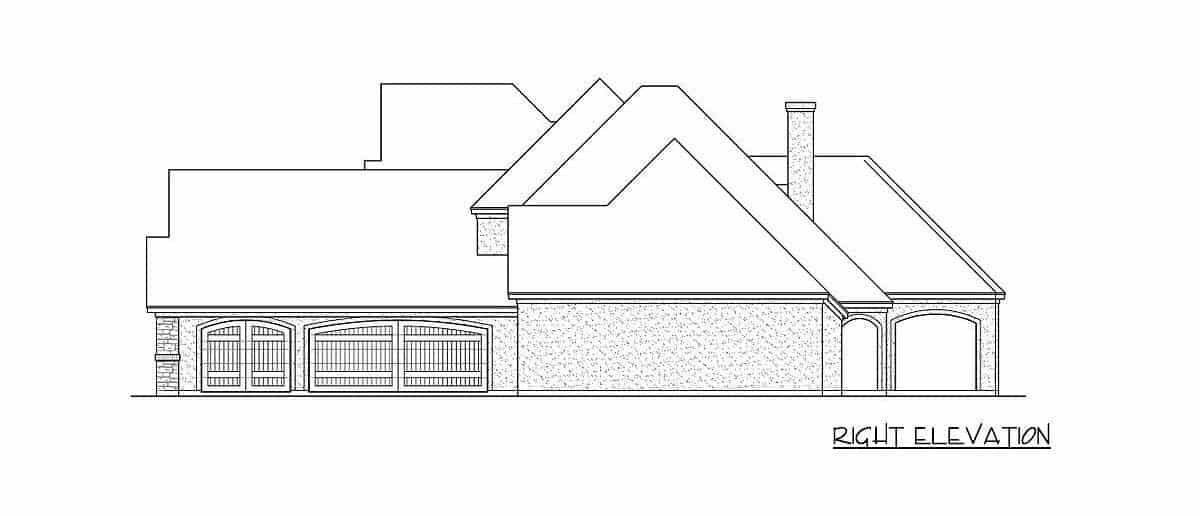 Right elevation sketch of the two-story 4-bedroom traditional home.