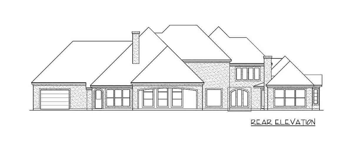 Rear elevation sketch of the two-story 4-bedroom traditional home.