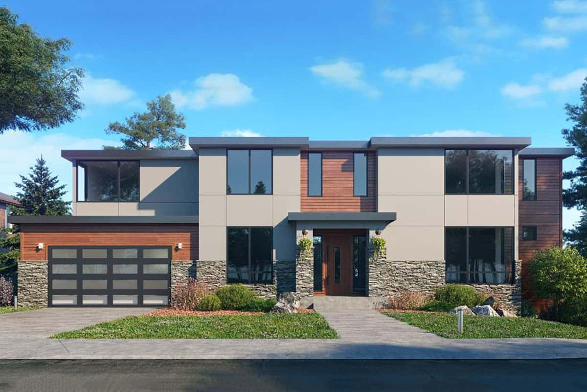 Two-Story 5-Bedroom Contemporary Northwest Home with Double Garage