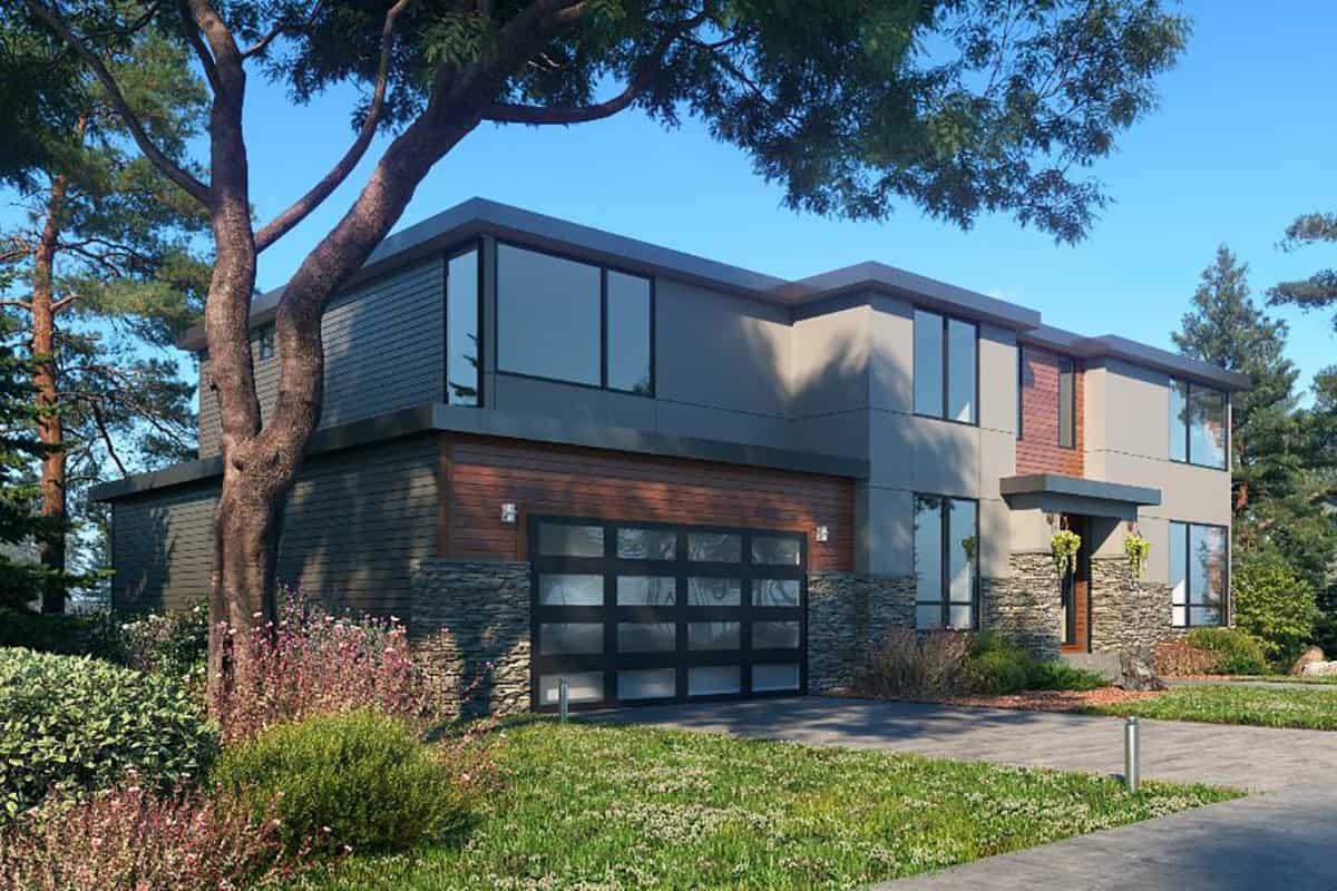 Front-left exterior view of the two-story 5-bedroom contemporary northwest home.