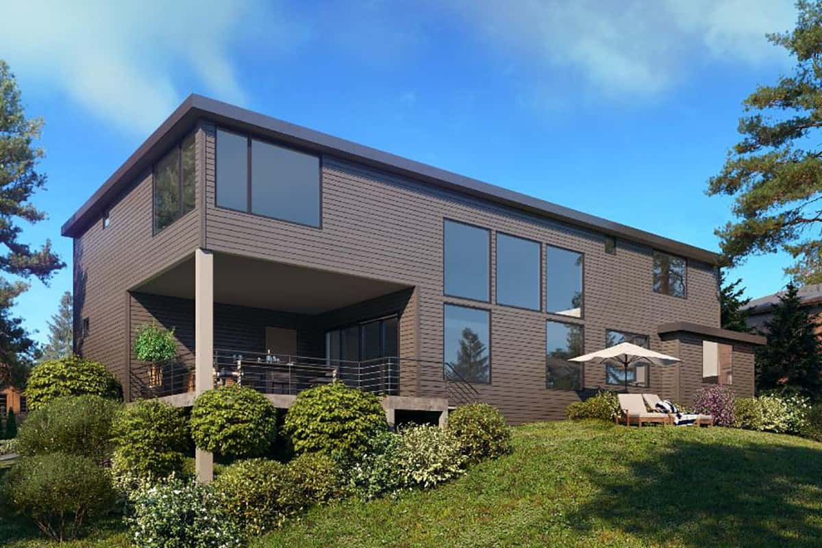 Rear exterior view of the two-story 5-bedroom contemporary northwest home.
