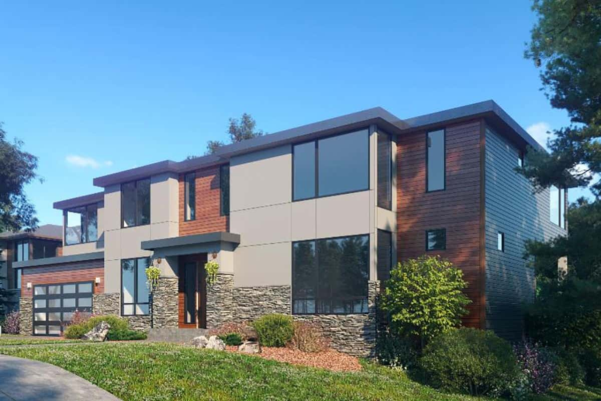 Front-right exterior view of the two-story 5-bedroom contemporary northwest home.