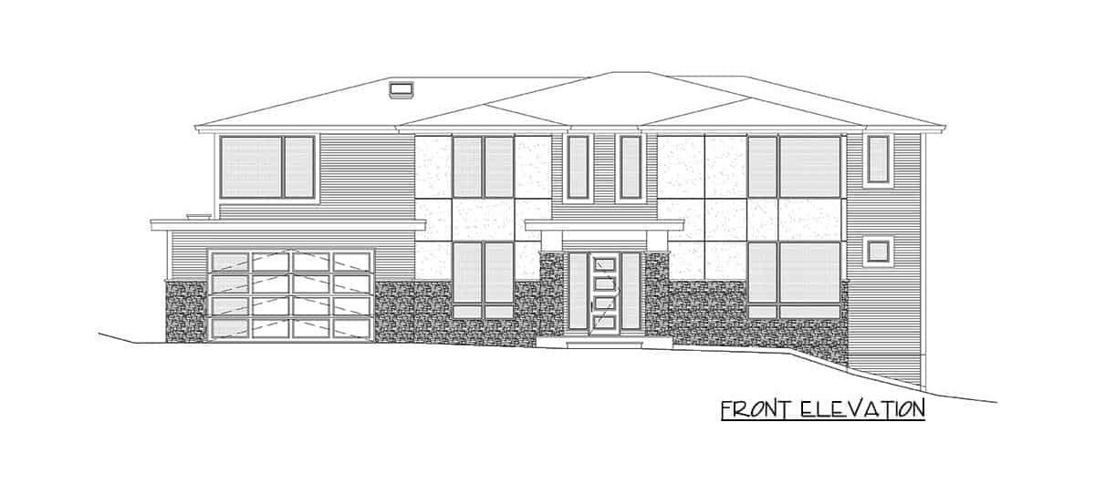 Front elevation sketch of the two-story 5-bedroom contemporary northwest home.