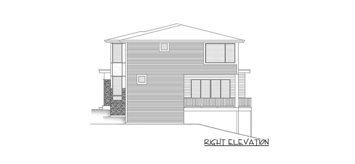 Right elevation sketch of the two-story 5-bedroom contemporary northwest home.