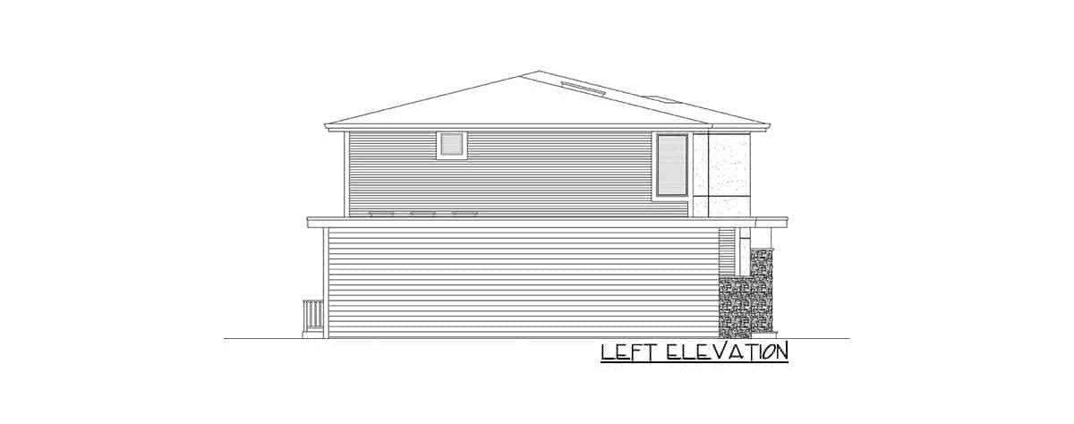 Left elevation sketch of the two-story 5-bedroom contemporary northwest home.