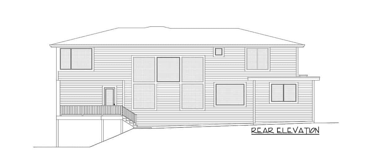 Rear elevation sketch of the two-story 5-bedroom contemporary northwest home.