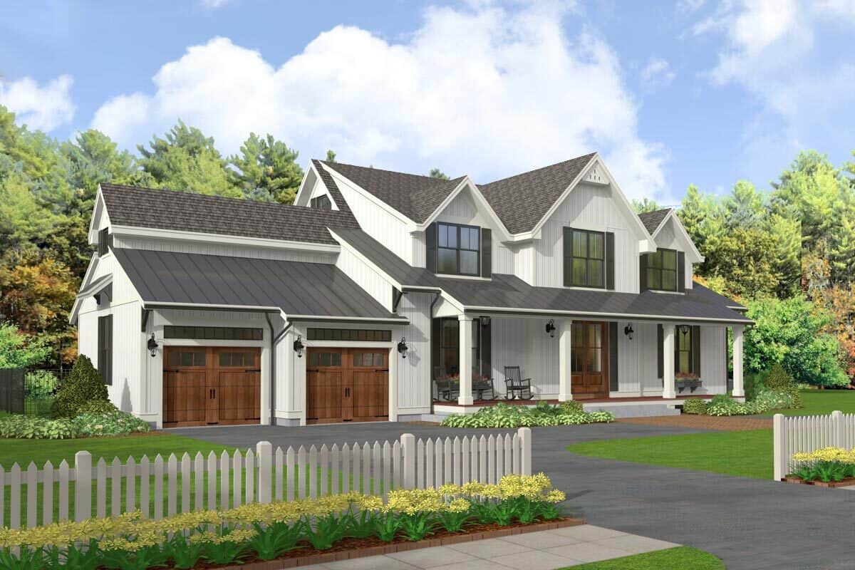 Front-left rendering of the two-story 5-bedroom modern farmhouse.