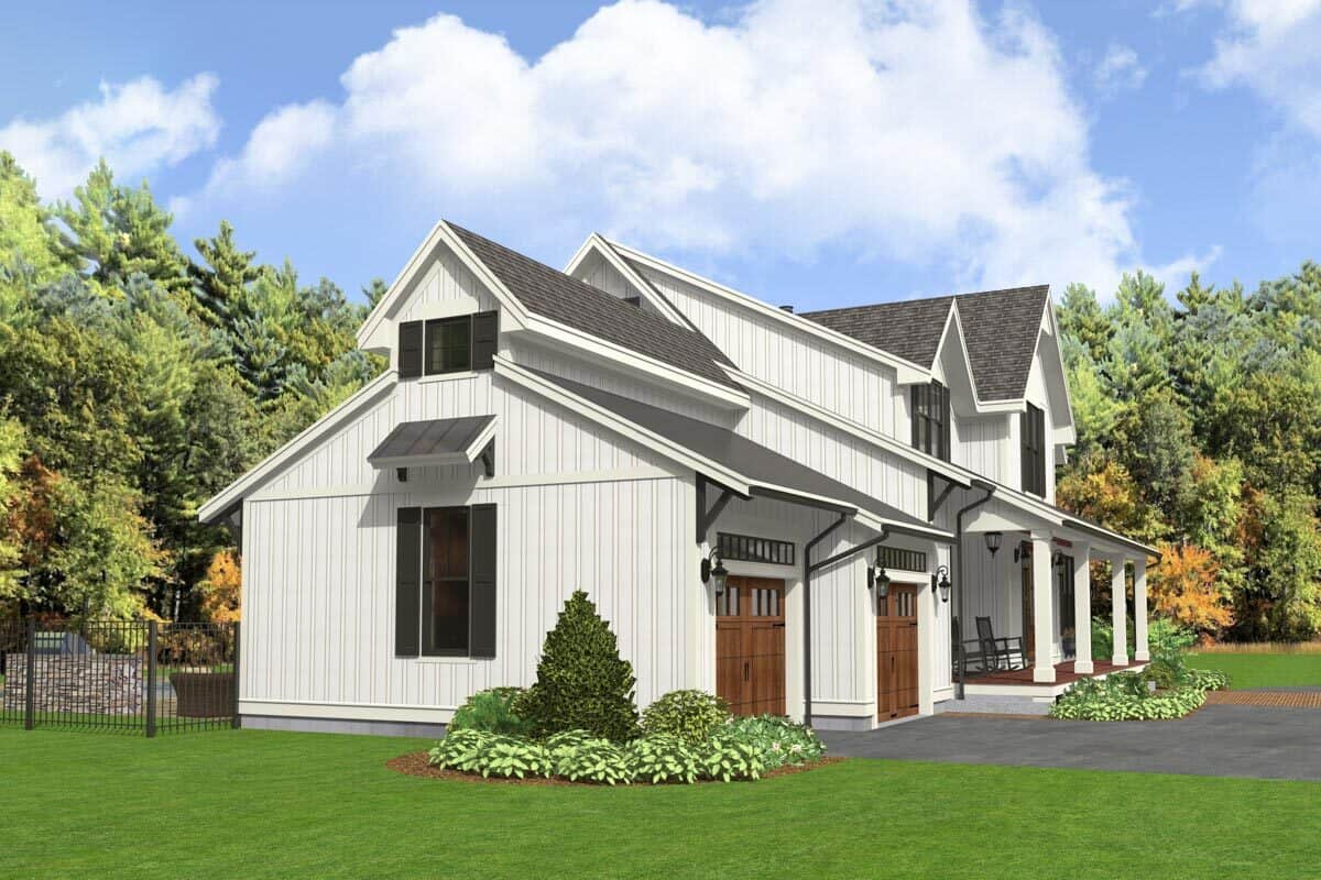Left rendering of the two-story 5-bedroom modern farmhouse.
