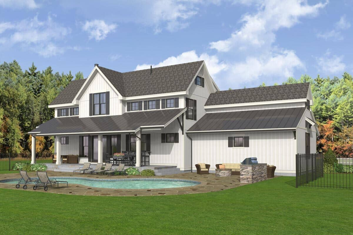 Rear-left rendering of the two-story 5-bedroom modern farmhouse.