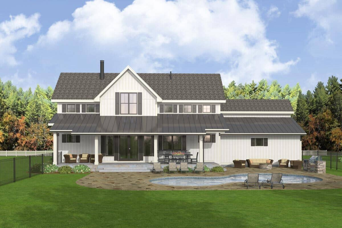 Rear rendering of the two-story 5-bedroom modern farmhouse.
