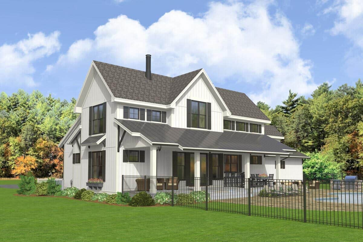 Rear-right rendering of the two-story 5-bedroom modern farmhouse.