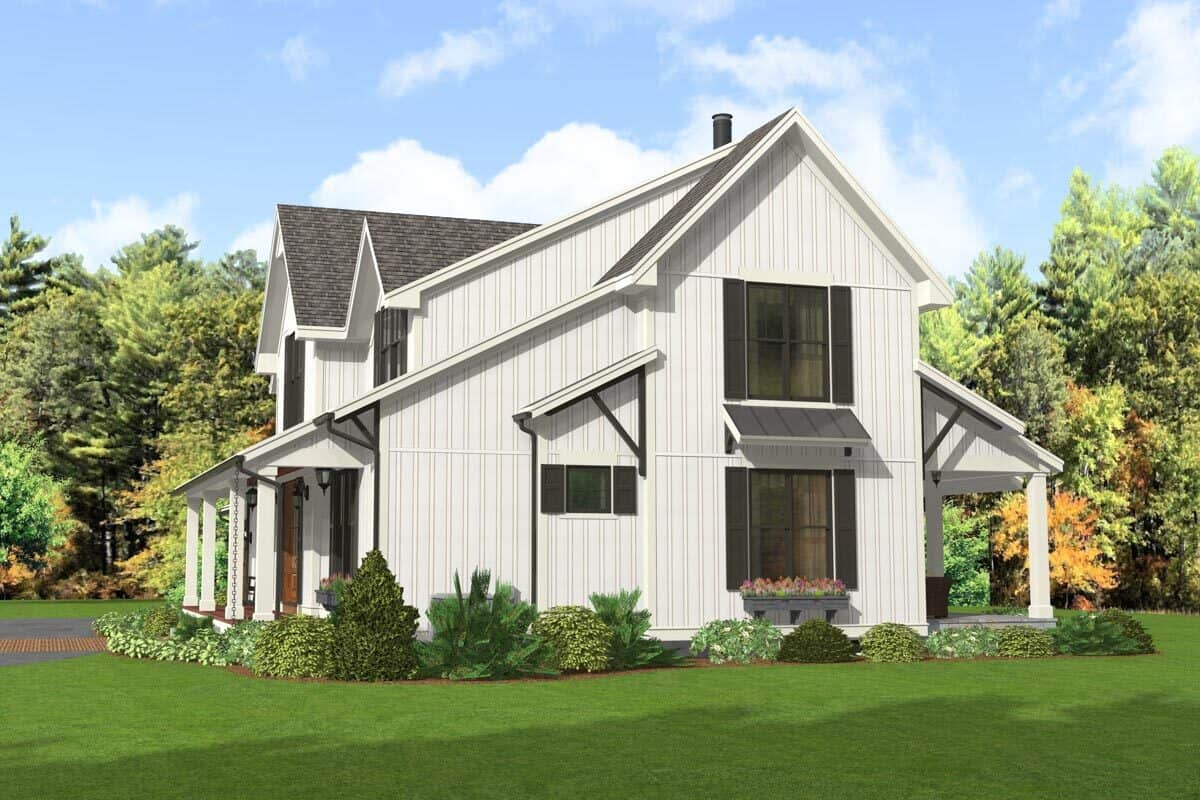 Right rendering of the two-story 5-bedroom modern farmhouse.