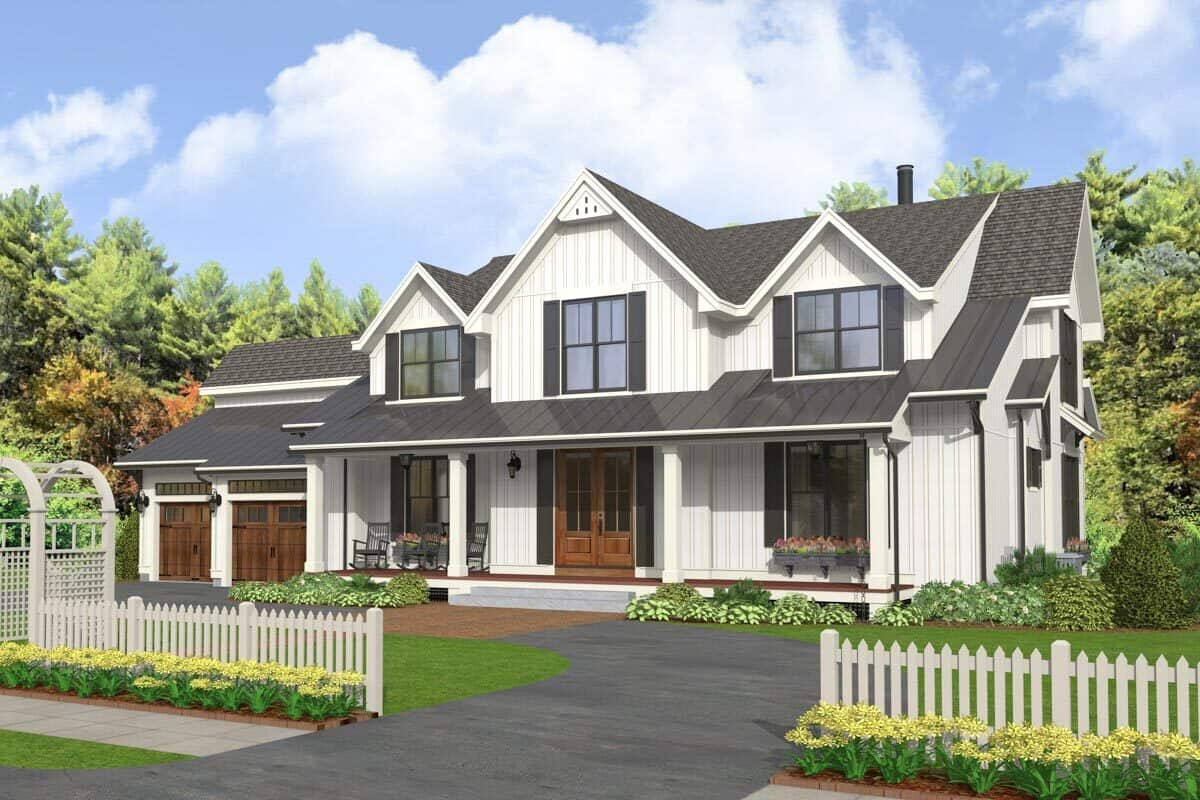 Front-right rendering of the two-story 5-bedroom modern farmhouse.