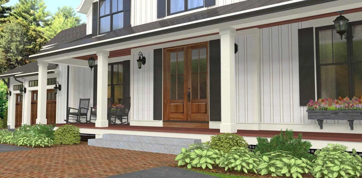Closeup of the home entry with a french front door and a wide covered porch.
