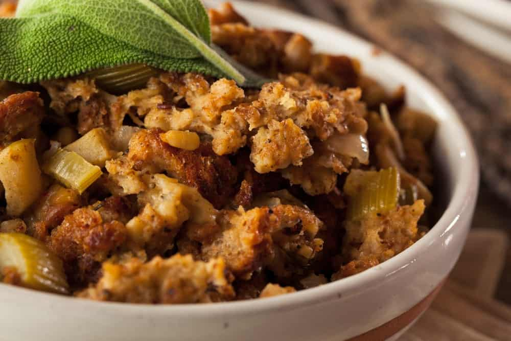 A close look at a large bowl of Thanksgiving stuffing.