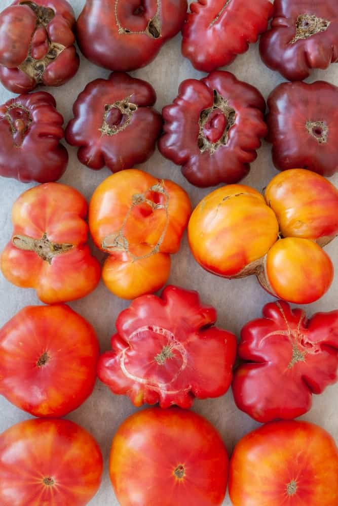 Three types of tomatoes including German tomatoes.