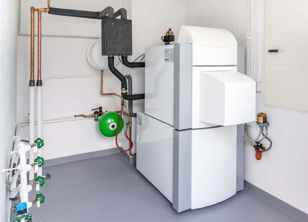 A domestic household with a modern heat pump water heater system.