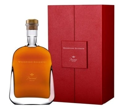 A bottle of Woodford Reserve Baccarat Bourbon from Heinemann.