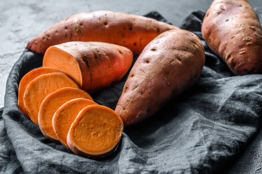 A look at pieces of sweet potatoes with some slices.