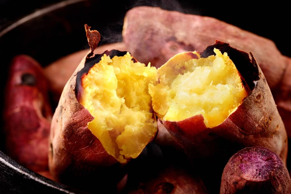 A close look at cooked Japanese sweet potatoes.