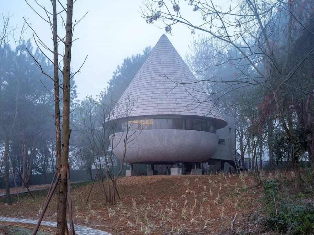 This is an exterior view of the house that has a unique design to its mushroom-like shape that has stilts underneath and a cone rooftop.