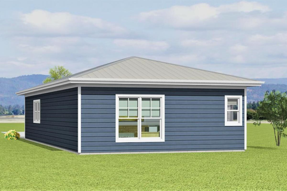 Rear rendering of the 1-bedroom single-story carriage home.