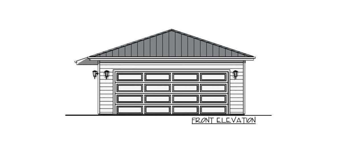 Front elevation sketch of the 1-bedroom single-story carriage home.Front elevation sketch of the 1-bedroom single-story carriage home.