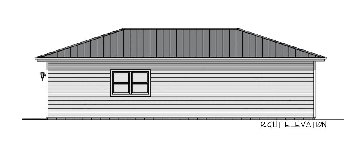 Right elevation sketch of the 1-bedroom single-story carriage home.Right elevation sketch of the 1-bedroom single-story carriage home.