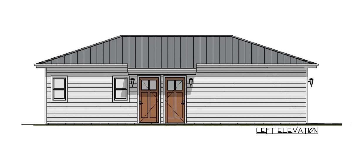 Left elevation sketch of the 1-bedroom single-story carriage home.