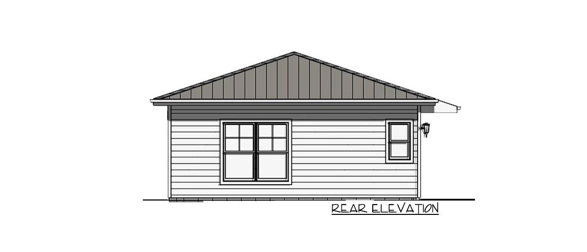 Rear elevation sketch of the 1-bedroom single-story carriage home.
