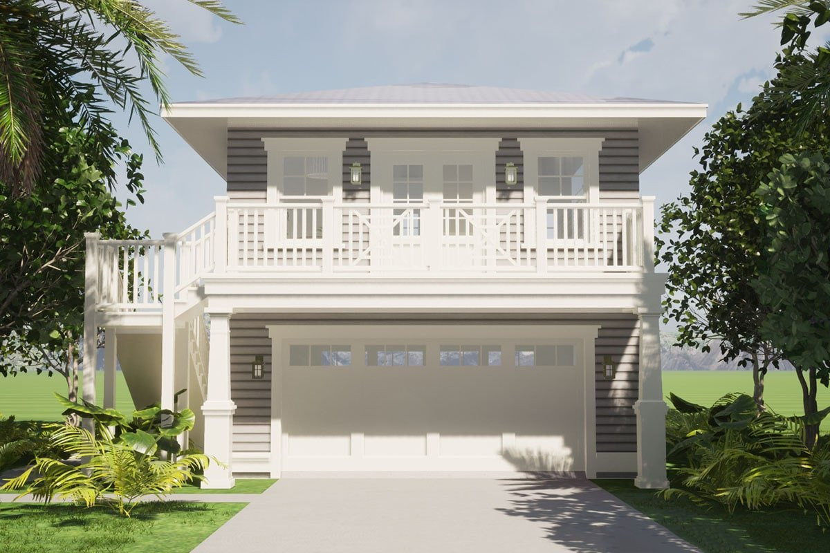 1-Bedroom Two-Story Southern Carriage Home with Double Garage and a Balcony