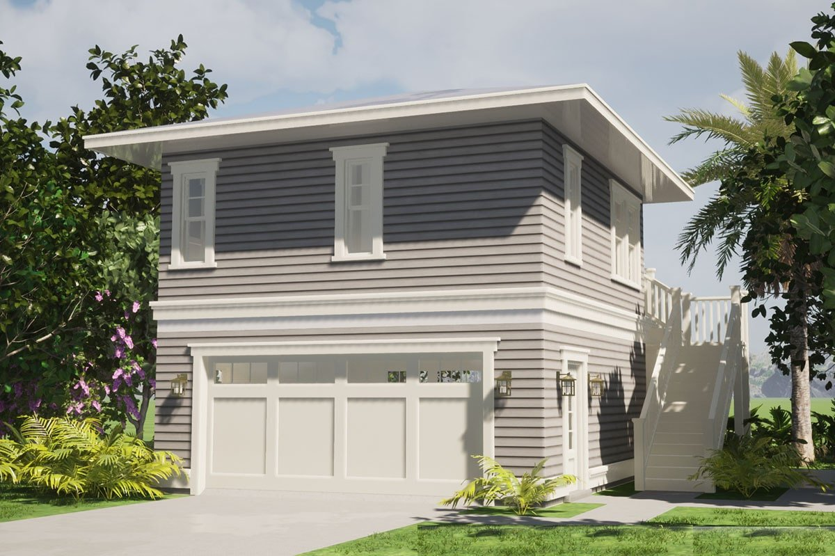Rear rendering of the 1-bedroom two-story Southern carriage home showing the double garage and a staircase leading to the balcony.