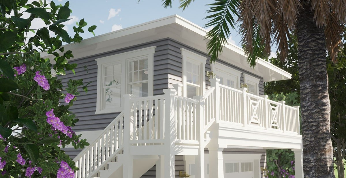 Angled front rendering showing the wide balcony that spans the width of the carriage home.