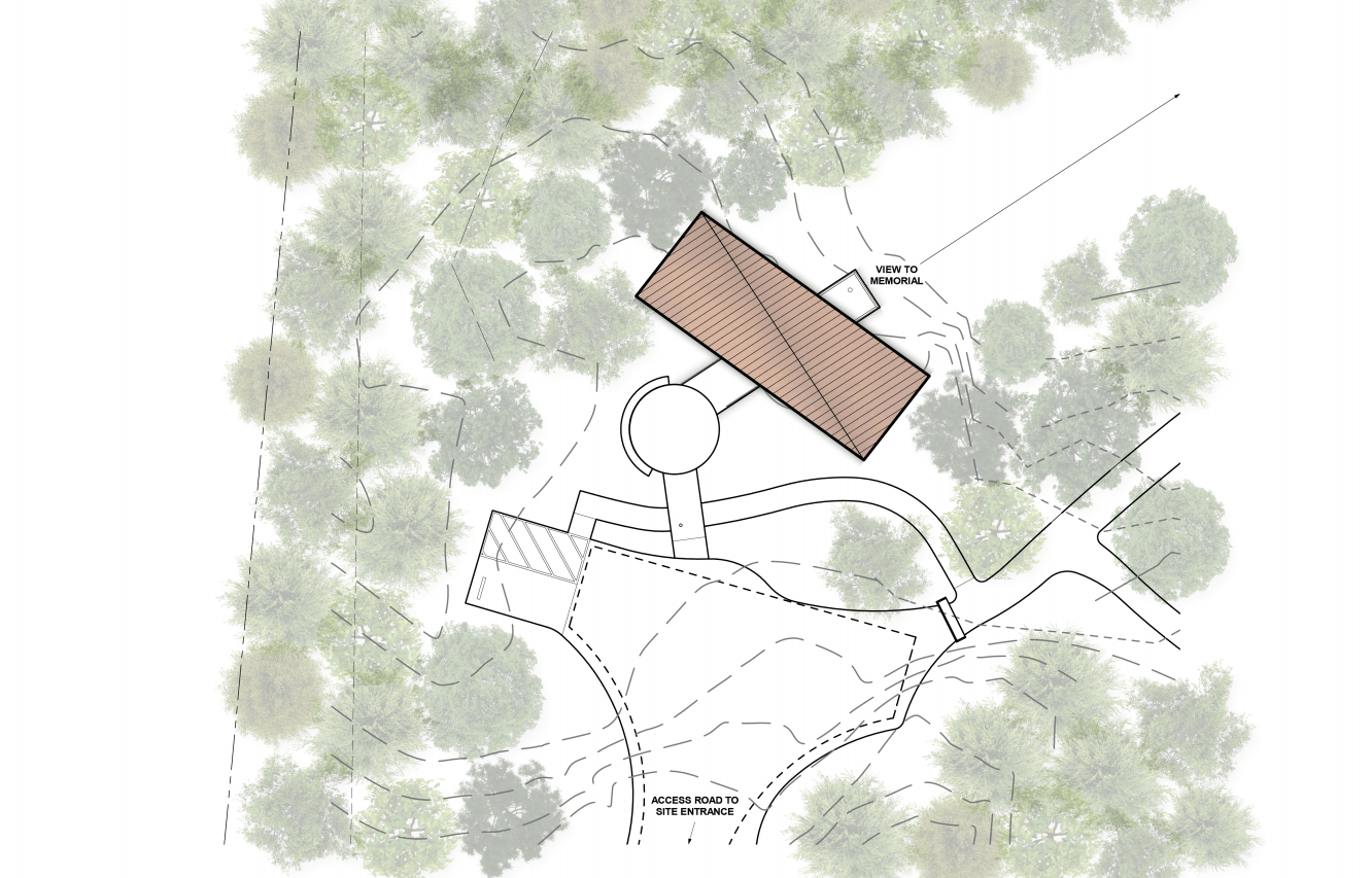 This is an illustration of the house's site plan showcasing the various structures.