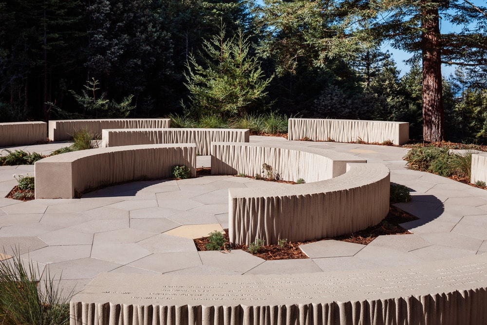 Each of the curved stone structures of the area has minute details that give it more depth and texture.