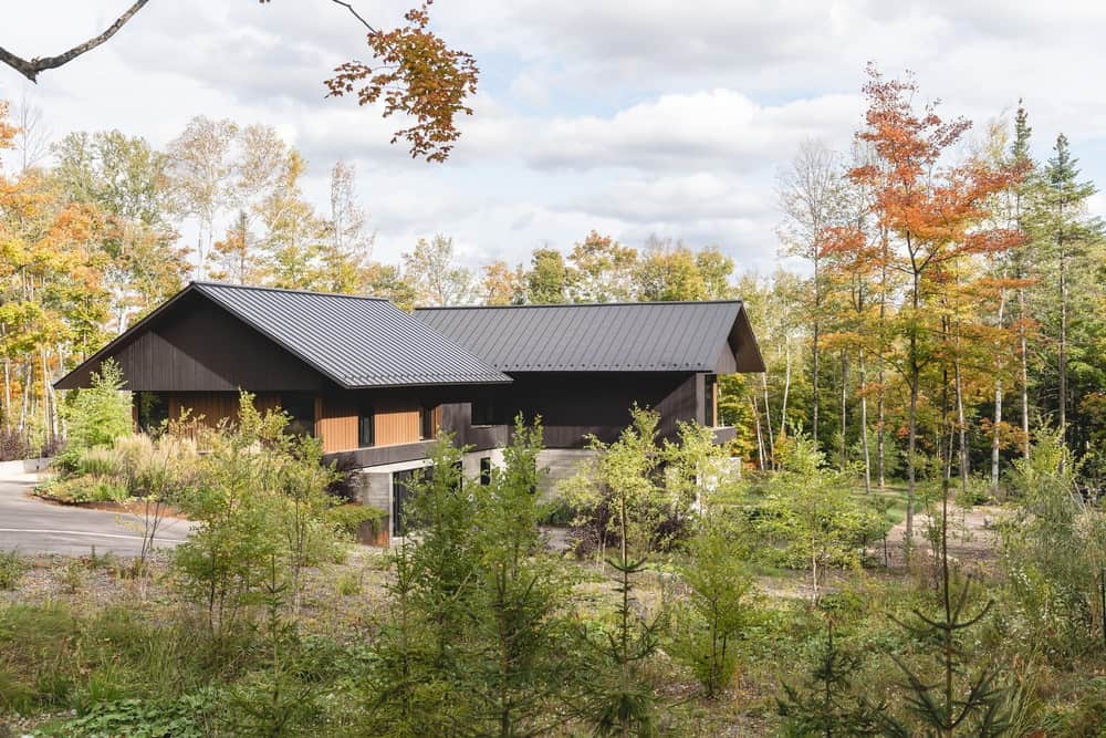 This is an exterior look at the house with an L-shape, a dark roof and dark walls that makes it stand out against the trees around.