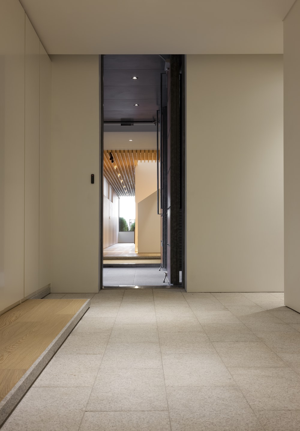 This is the door that leads to the back outdoor areas of the house as well as the parking area.